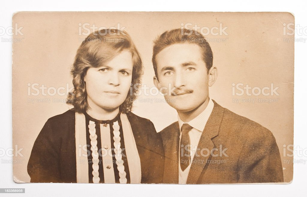 A vintage photo of a young couple stock photo