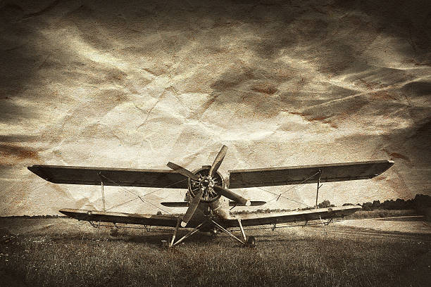 A vintage photo of an old biplane stock photo