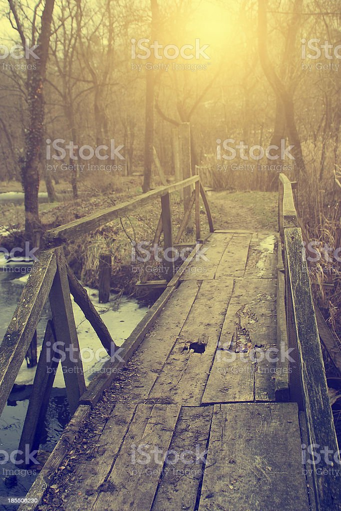 Vintage photo of bridge in the forest royalty-free stock photo