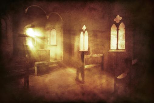 Vintage photo of church interior. Sepia toned