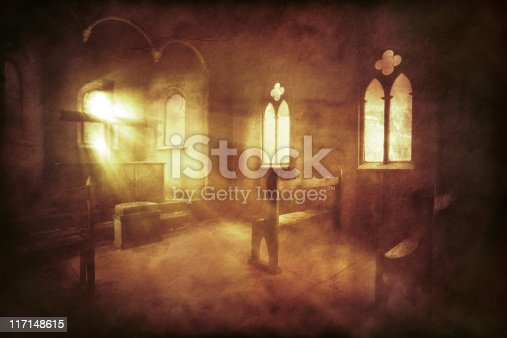 Vintage photo of church interior. Sepia toned