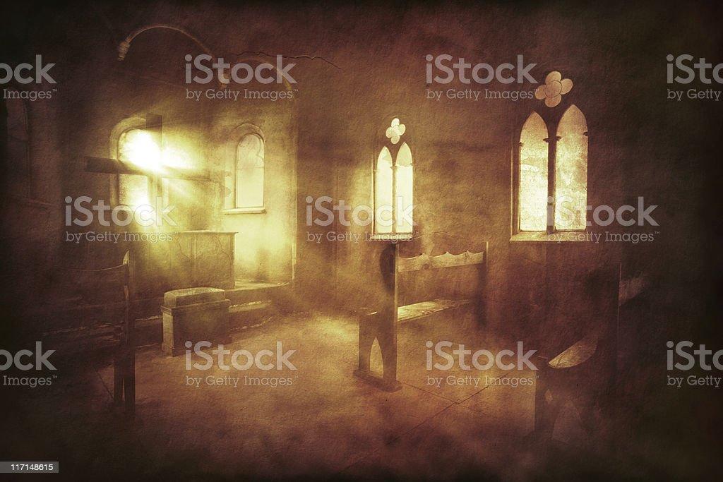 Vintage photo of church interior stock photo