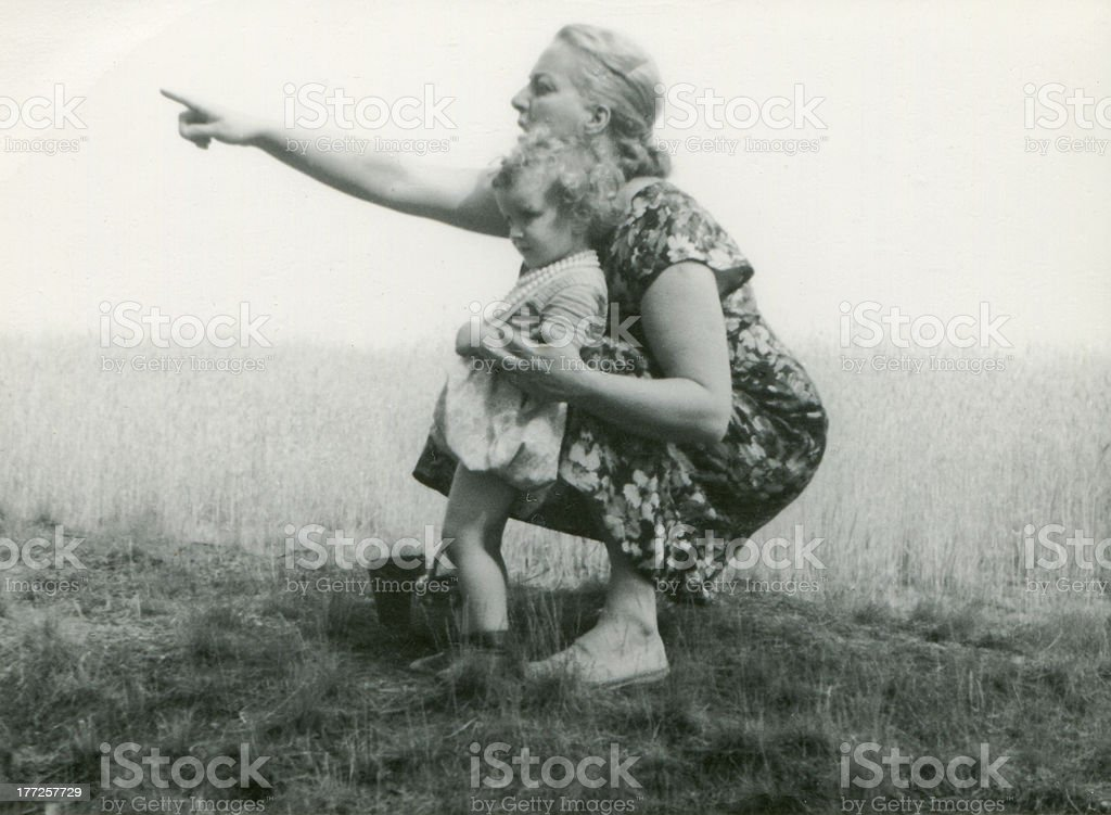 Vintage photo of mother and daughter stock photo