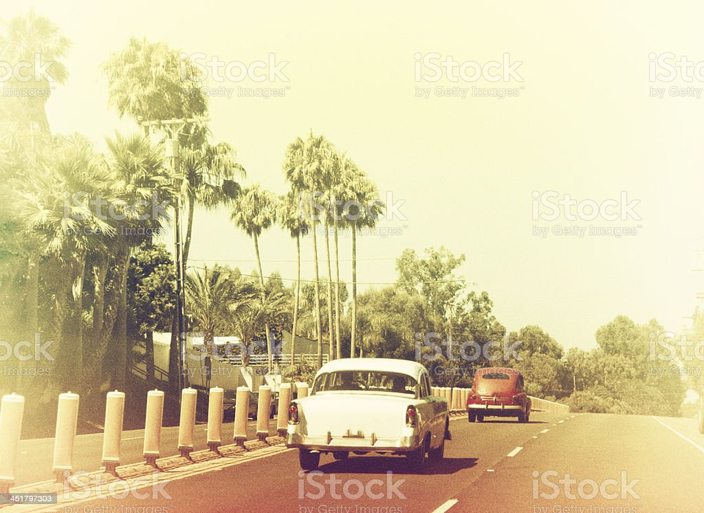 Vintage photo of road with cars in Beverly Hills, California stock photo