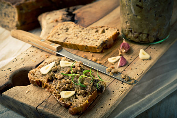 Vintage photo of sandwich with lentils pate stock photo