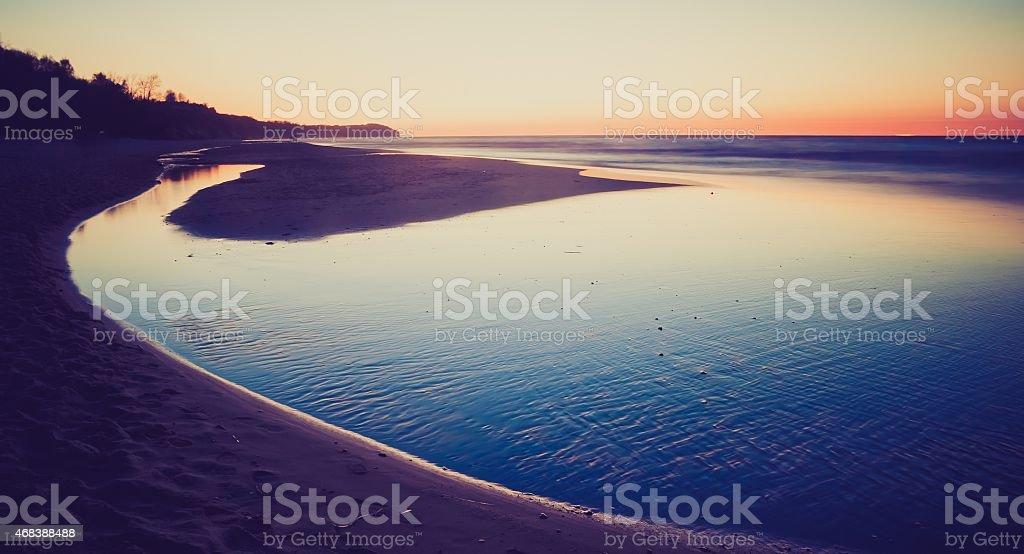 Vintage photo of shore at landscape stock photo