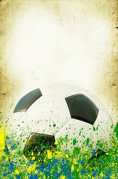 vintage bild von soccer ball, brasilien 2014 - fußball poster stock-fotos und bilder