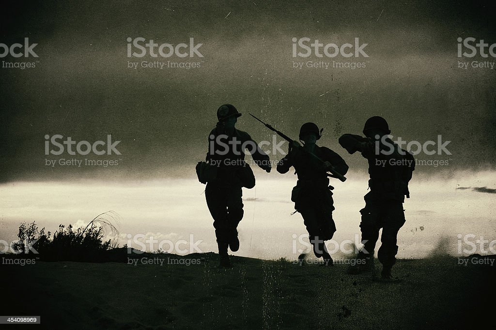 Vintage Photo Of WWII Action Silhouette - Wet Plate Effect stock photo