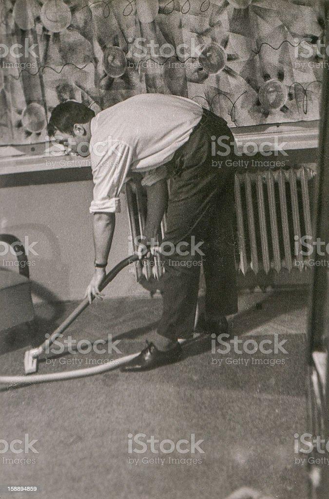 Fotografía de época de joven aplicar (circa 1960) foto de stock libre de derechos
