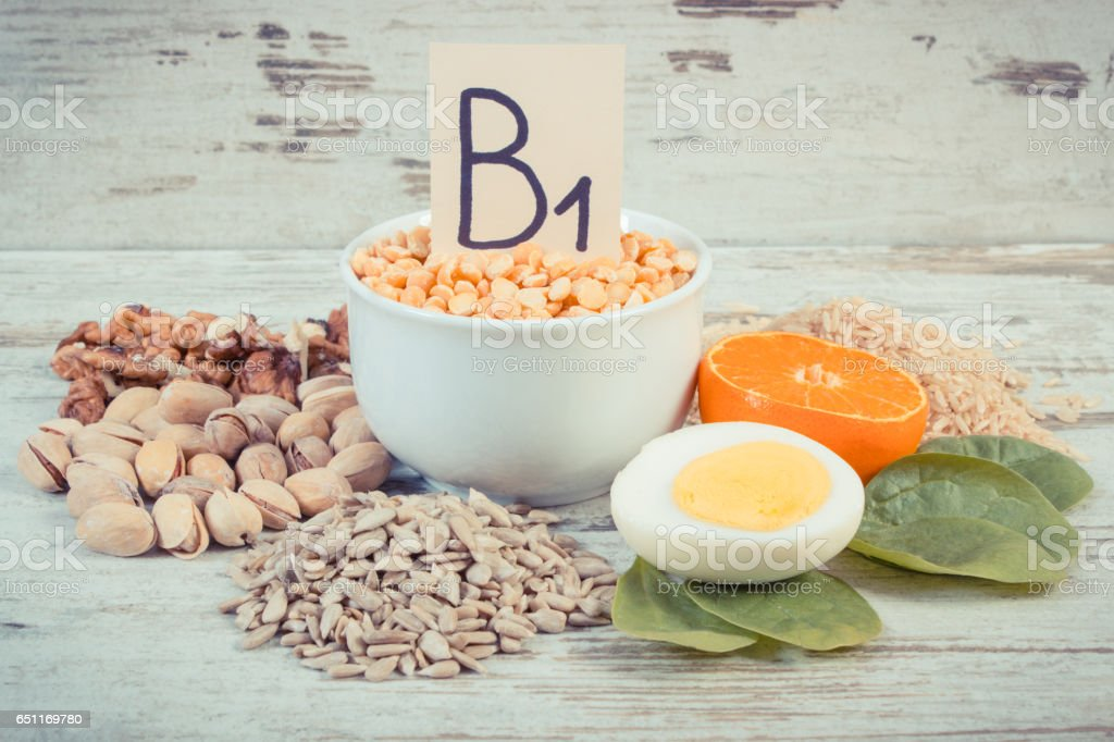 Vintage photo, Products and ingredients containing vitamin B1 and dietary fiber, healthy nutrition stock photo