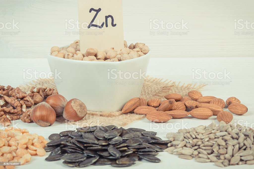 Vintage photo, Products and ingredients containing zinc and dietary fiber stock photo