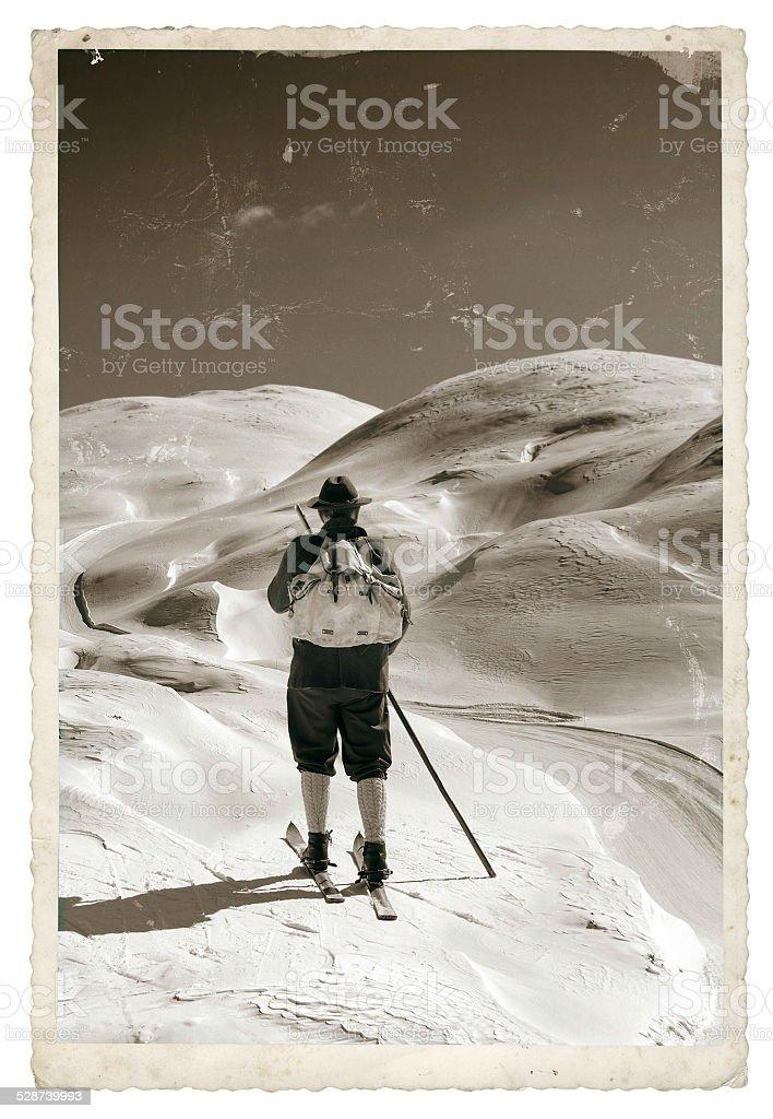 Vintage Foto mit alten Skifahrer – Foto