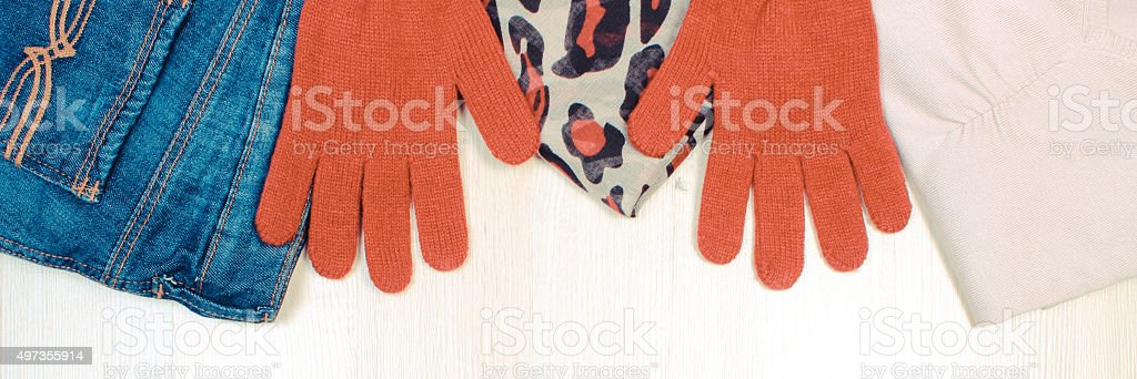Vintage photo, Womanly clothes on wooden background stock photo