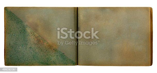 istock Vintage photoalbum for photos on white isolated background 499262051