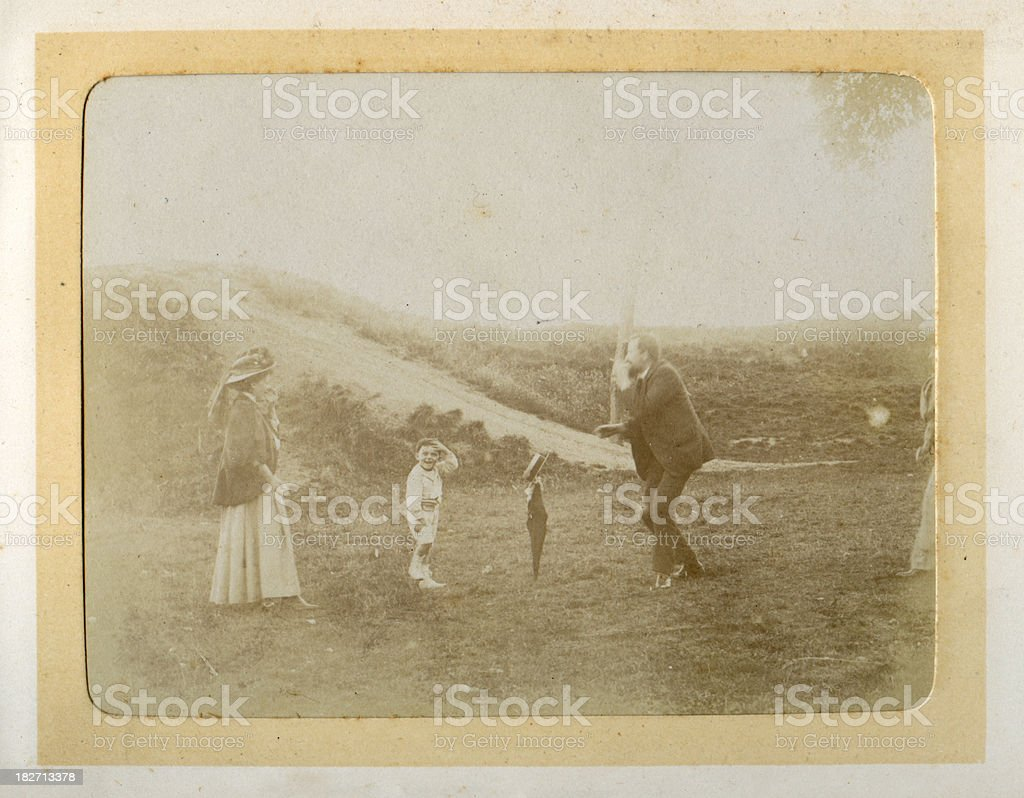 Vintage photograph Edwardian Family Outing stock photo