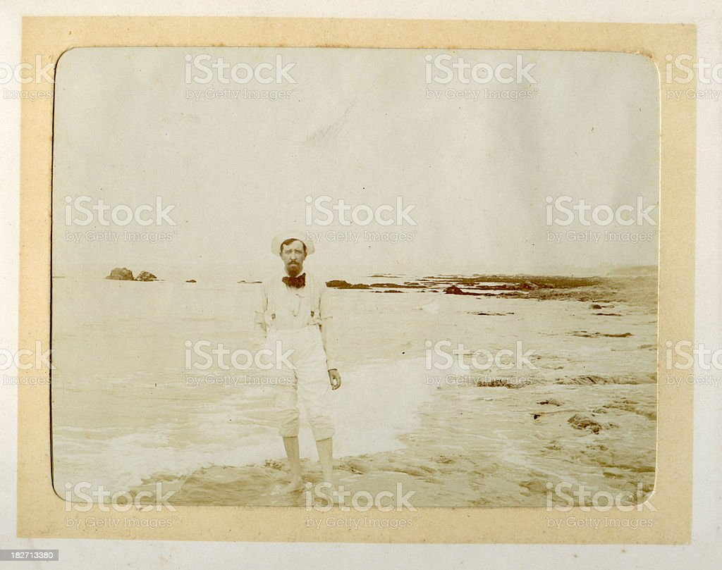Vintage photograph Edwardian man at the beach royalty-free stock photo