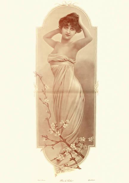 Vintage-Foto von einer schönen jungen Frau, Pfirsichblüte, 1890er Jahre – Foto