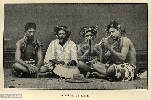 Vintage photograph of a Group of Tahitian men, Victorian 19th Century