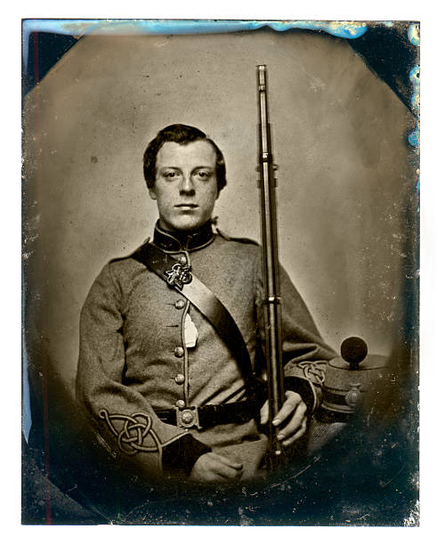 Vintage photograph of a soldier c.1860 Vintage daguerreotype or tintype photograph of a soldier circa 1860 american civil war stock pictures, royalty-free photos & images