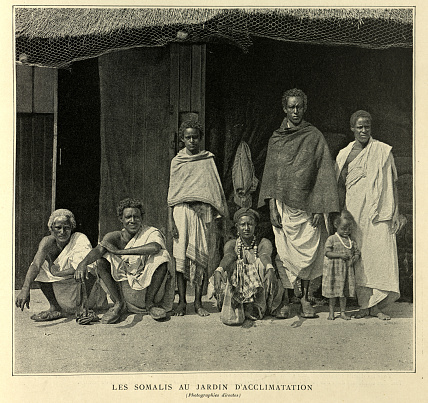 Vintage photograph of a Somali family, Victorain 19th Century