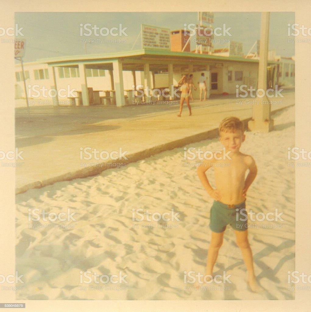 Vintage photograph of a young boy stock photo