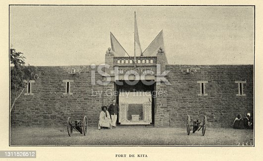 Vintage photograph of Fort De Kita, Mali, 19th Century, French military base