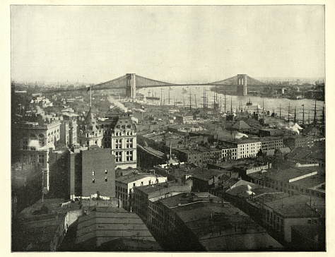 Vintage photograph of New York city and Brooklyn Bridge 19th Century