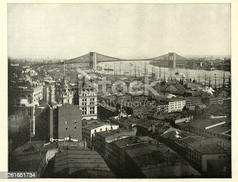 Vintage photograph of New York city and Brooklyn Bridge 19th Century