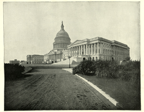 Vintage photograph of The Capitol, Washington DC, 19th Century