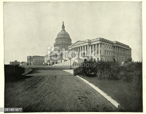 Vintage photograph of The Capitol, Washington DC, 19th Century