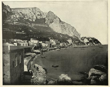 Vintage photograph of the Marina at Capri, Italy, 19th Century