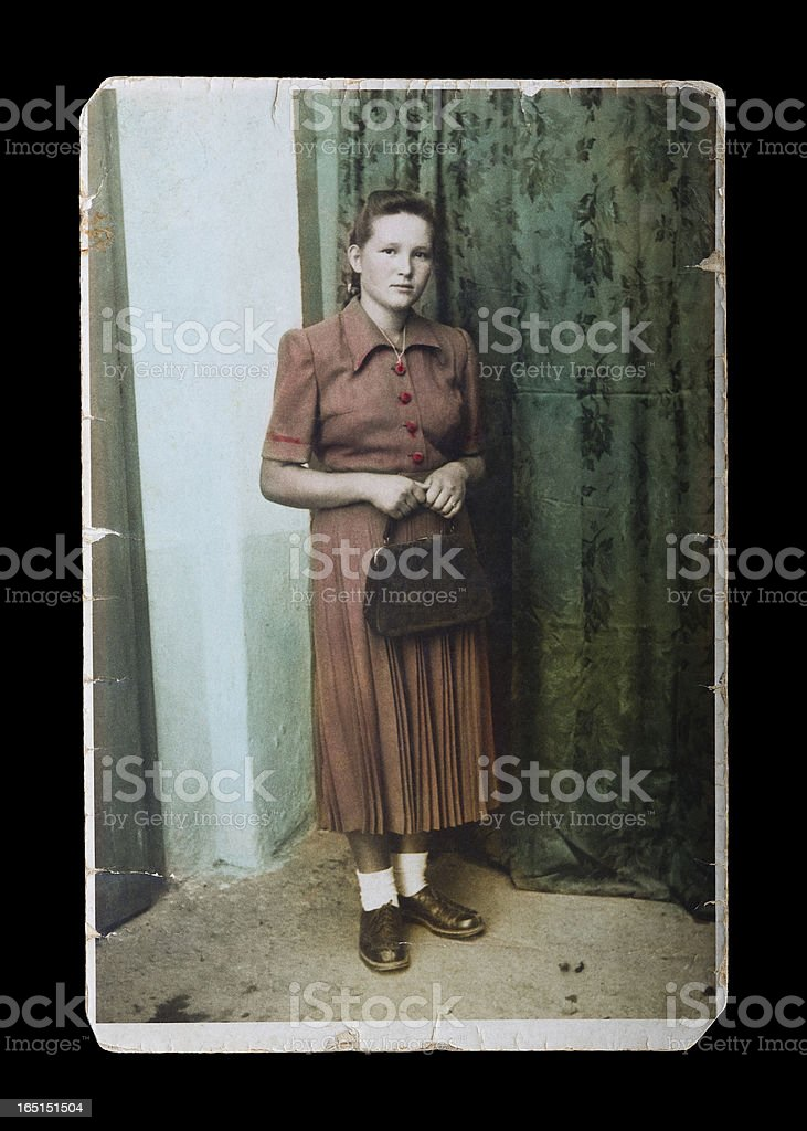 Vintage photograph of young woman stock photo