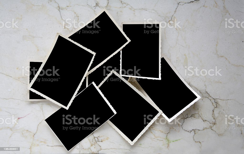 Vintage photographic deckle edged picture frames stock photo