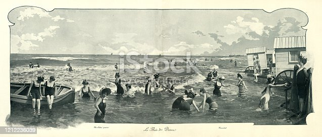 Vintage photograph of a Vintage Photomontage of womens section of a beach, Victorian 19th Century