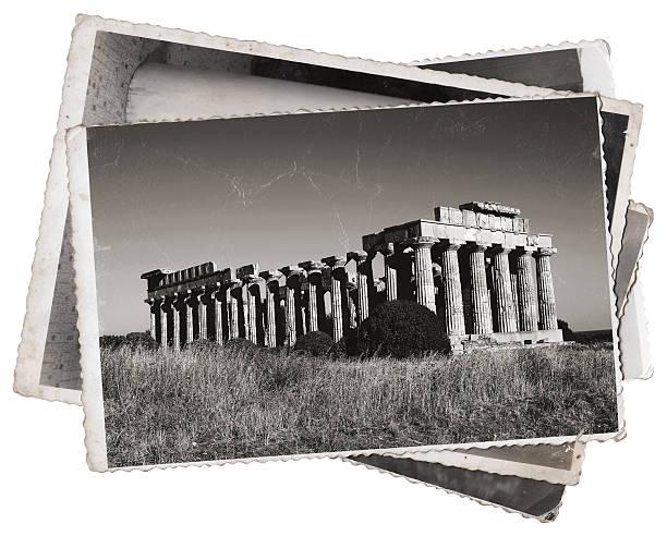 ギリシャ風寺院のヴィンテージ写真 ストックフォト