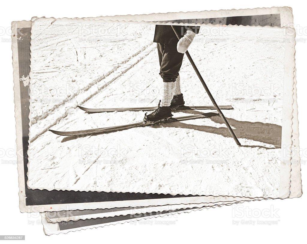 - Fotos und alten Skier und Stiefel – Foto