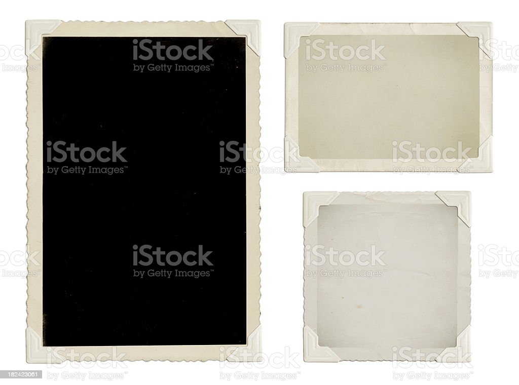 Vintage photos with white corners stock photo