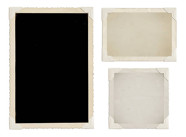 vintage photos with white corners - photo corner stock photos and pictures