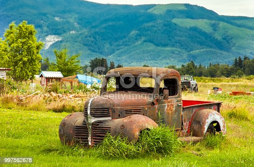 Vintage Pickup in a Meadow in Washington USA