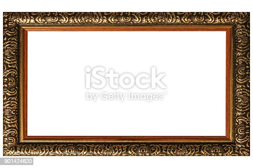 914465180 istock photo Vintage picture frame isolated on white background, empty wooden frame for painting or photo. 901424620