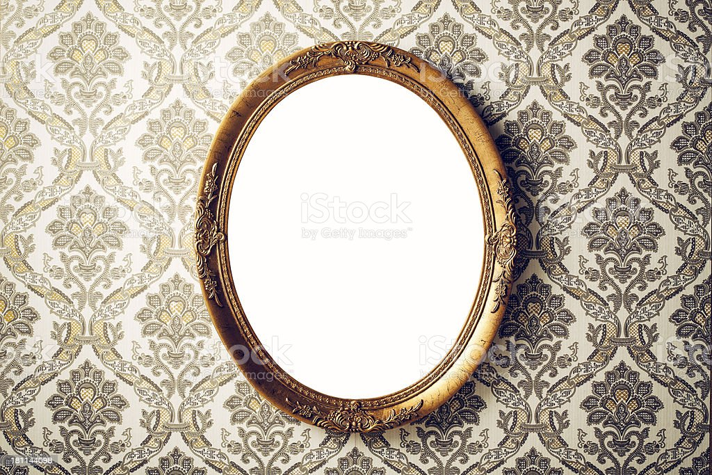 Vintage picture frame - Wallpaper Retro Gold Antique Baroque stock photo