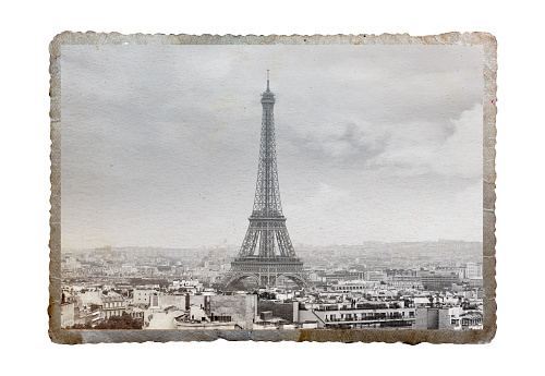 Vintage picture of Eiffel tower, Paris, France