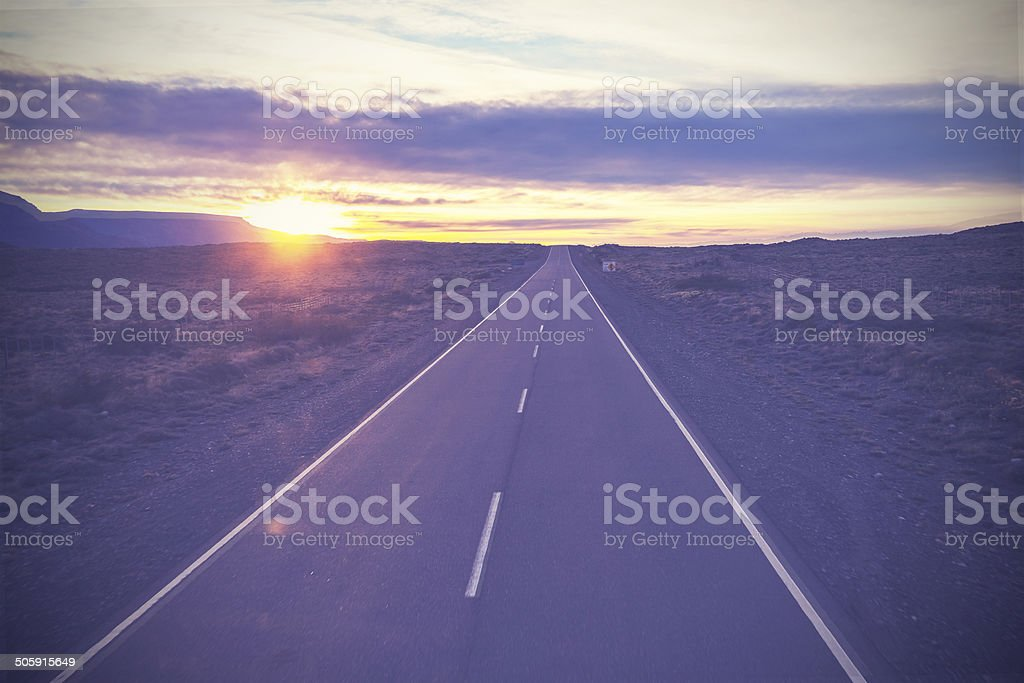 Vintage picture of famous road, Route 40, Patagonia, Argentina. stock photo