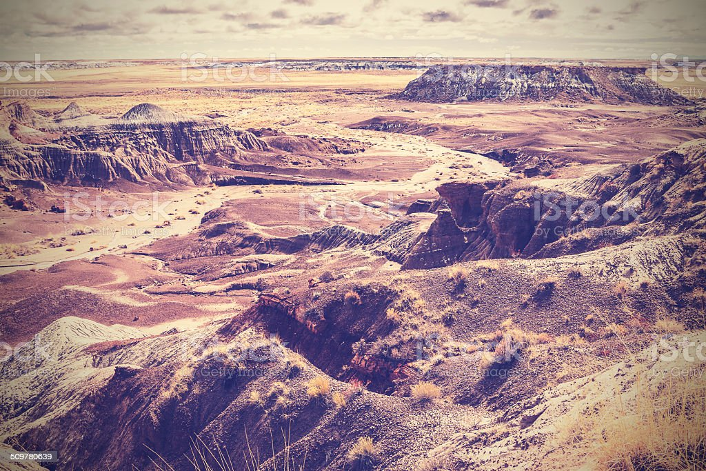 Vintage picture of Painted Desert. stock photo