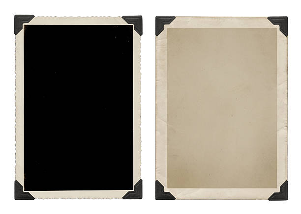vintage pictures with black corners - photo corner stock photos and pictures