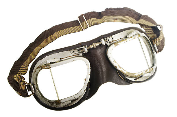Vintage pilot goggles with elastic strap stock photo