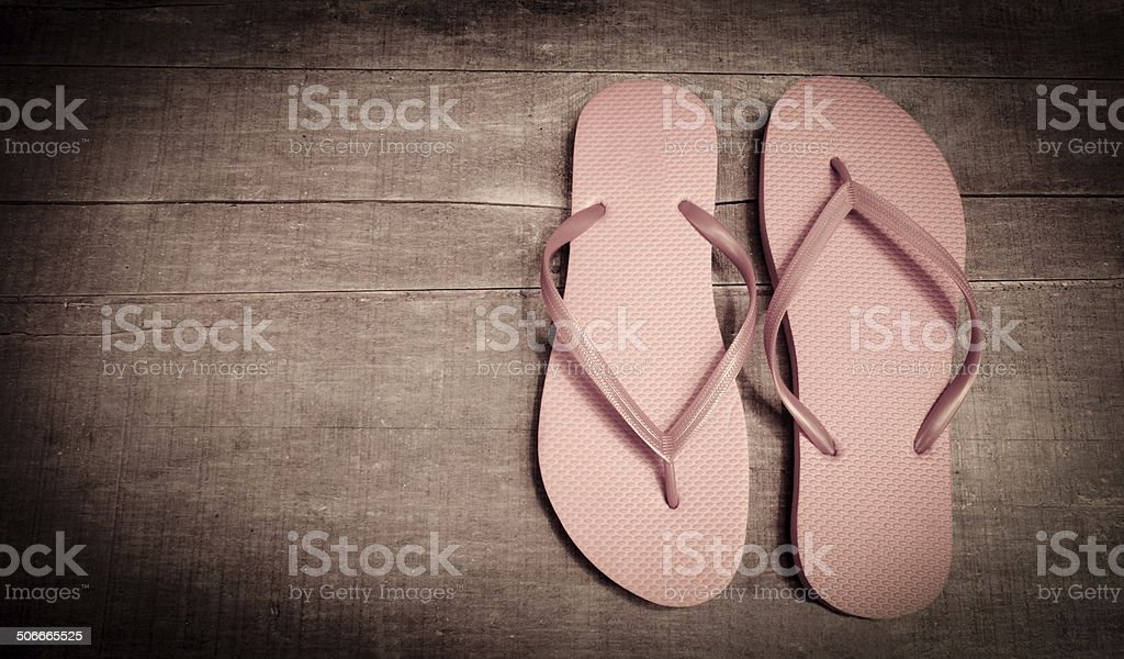 Vintage Pink Colored Flip-Flops stock photo