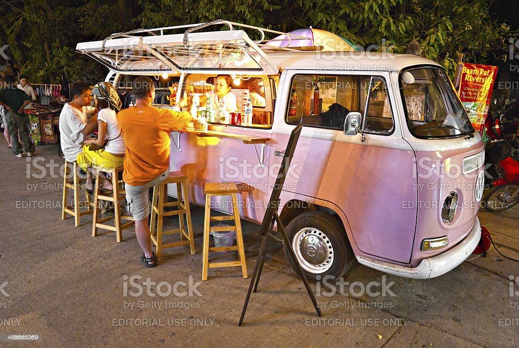 Vintage pink Volkswagen Bus stock photo