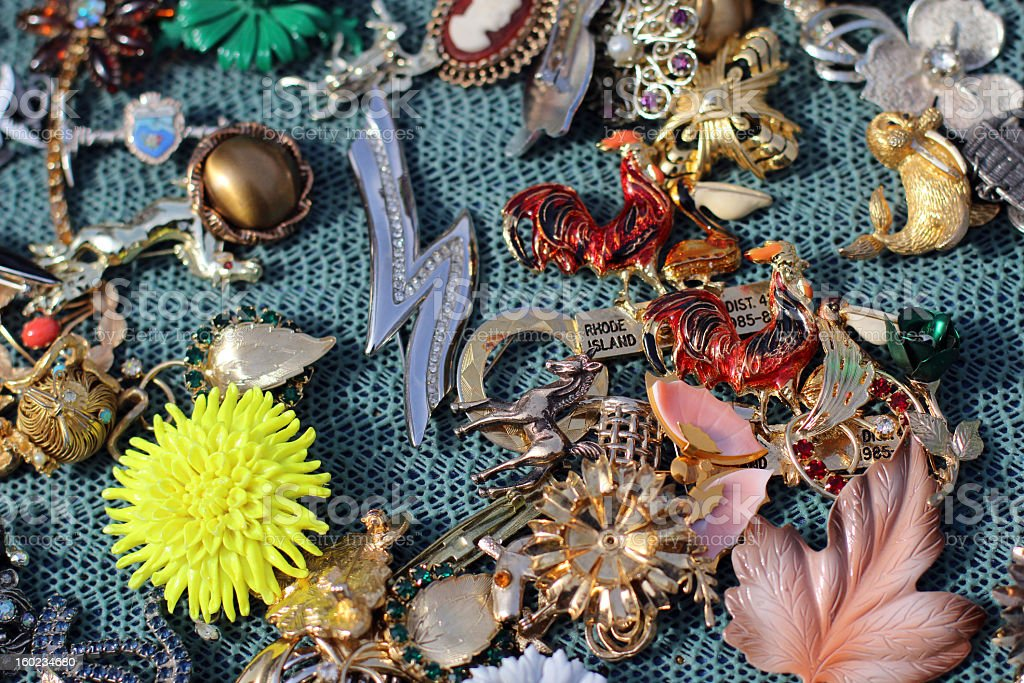 Vintage Pins, Brooches, Costume Jewelry royalty-free stock photo