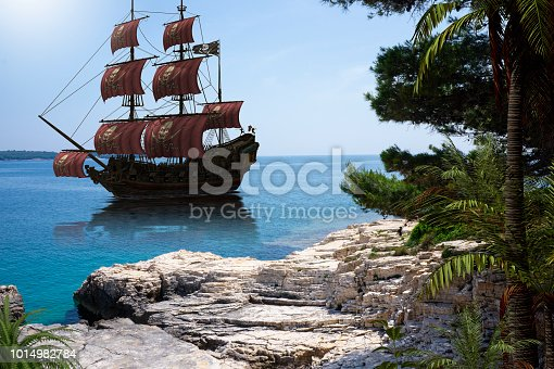istock Vintage Pirate Ship to go Anchor 1014982784